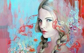 блондинка, девушка, лицо, голубые глаза, произведение искусства