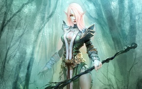blonde, elves, fantasy art
