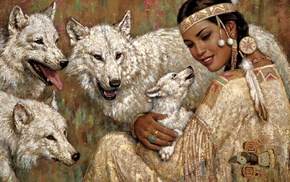 cubs, wolf, Native Americans
