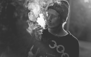 blurred, cannabis, smoke, monochrome, joint