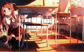 рыжие, девушки из аниме, красные галаза, аниме, школьная форма