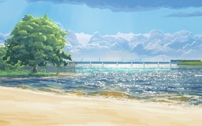 beach, trees, sea, Everlasting Summer, clouds, artwork