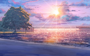 sea, beach, ArseniXC, Sun, sun rays, visual novel