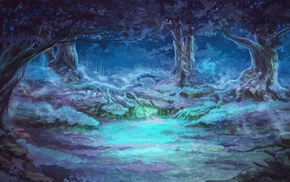 forest clearing, mist, Everlasting Summer, night