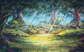 солнечные лучи, деревья, произведение искусства, лес, солнечный свет