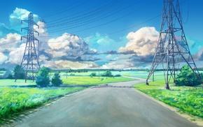 green, ArseniXC, clouds, road, blue, utility pole
