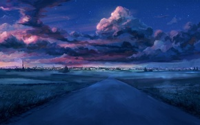 starry night, sunset, Everlasting Summer, cityscape, visual novel, clouds
