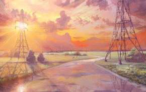 Everlasting Summer, sun rays, visual novel, reflection, utility pole, clouds