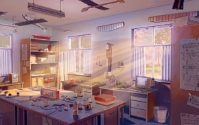 Everlasting Summer, sun rays, aircraft, schematic, radio, visual novel