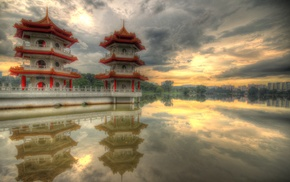 feelings, lake, pagoda, Singapore, reflection, sunset