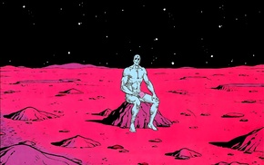 Mars, comic books, space, crater, Dr. Manhattan, Watchmen