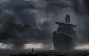 rain, clouds, shipwreck