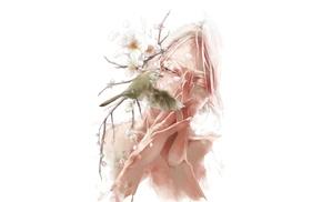 anime boys, birds, white