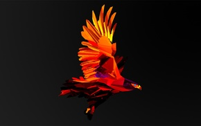 eagle, animals, digital art, Justin Maller, Facets