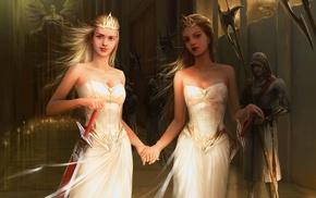 twins, fantasy art, blonde