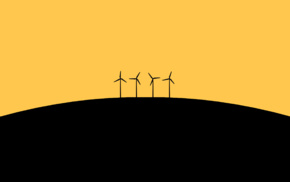 simple background, wind turbine