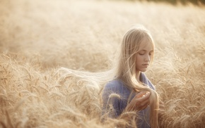 field, blonde, girl
