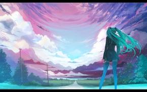 Мику Хацунэ, пейзаж, девушки из аниме, Вокалоид, горизонт