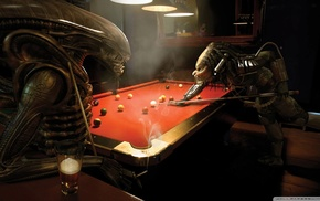 billiards, aliens, bar, anime, Alien vs. Predator, pool table