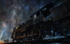train, digital art, group of people, sky, stars