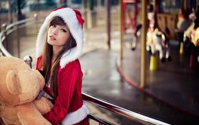 Santa costume, girl, model, long hair, Agnes Lim, Asian