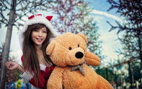 long hair, Asian, Santa costume, Agnes Lim