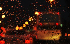 rain, water on glass, glass, bokeh