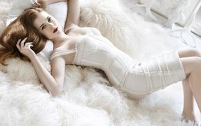 girl, white dress, redhead, Amy Adams