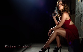 Dollhouse, Eliza Dushku, gun, red dress