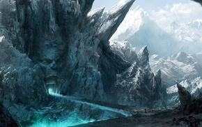 cave, winter, mountain, fantasy art