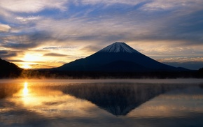 sunrise, water, reflection, mountain, Mount Fuji, Japan