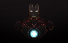 grid, glowing, dark background, superhero, Iron Man