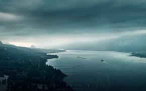 пейзаж, туман, река
