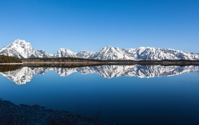 reflection, lake, mountain, landscape