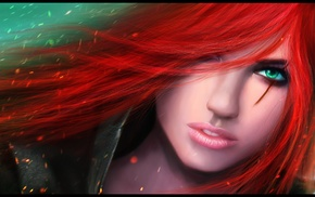 Katarina, render, redhead, hair in face, girl, League of Legends