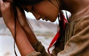 brunette, girl, praying