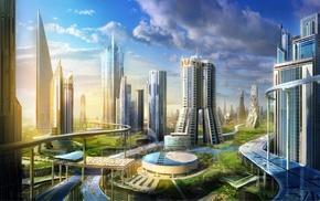 futuristic, cityscape, city