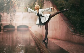 high heels, stockings, girl, rain
