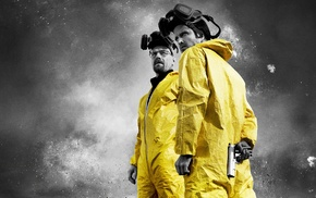 paint splatter, gas masks, Breaking Bad, selective coloring, Walter White, Jesse Pinkman