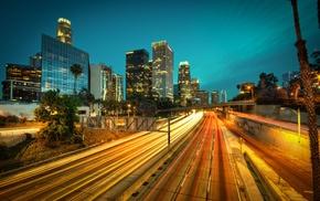 light trails, cityscape, building, California, long exposure, palm trees