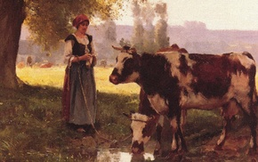 classic art, artwork, painting, farm, peasants, cows