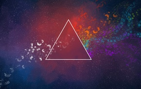 The Dark Side of the Moon, triangle, abstract, Pink Floyd, flowers
