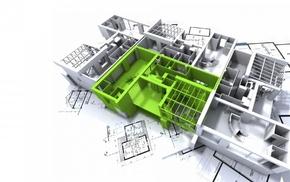 interiors, building, 3D, blueprints, house