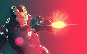 Iron Man, red, low poly, artwork, superhero, digital art