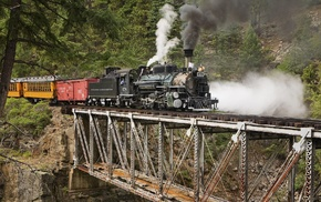 train, bridge, trees, rock, landscape, men