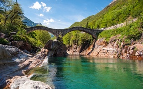 bridge, river, nature, clouds, water, forest