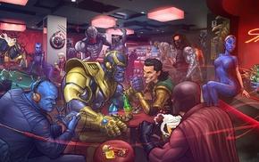 Red Skull, alcohol, Marvel Cinematic Universe, Loki, anime, bar