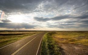 field, sunlight, clouds, horizon, landscape, nature