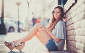 brunette, open, toed shoes, jean shorts, long hair, girl