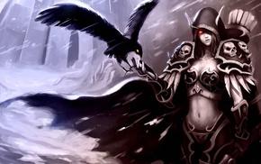 video games, digital art, Sylvanas Windrunner, World of Warcraft, artwork, raven